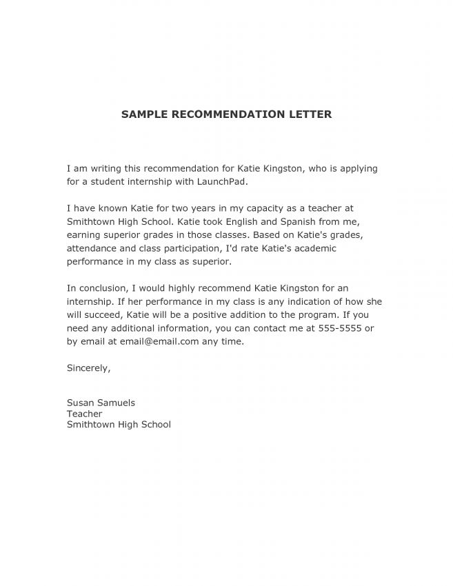 12 Recommendation Letter For Internship Student Job Duties ...