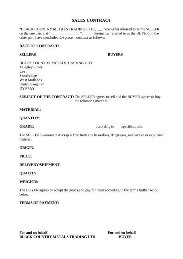 9+ Sales Contract Templates - Free PDF, Word Format Download