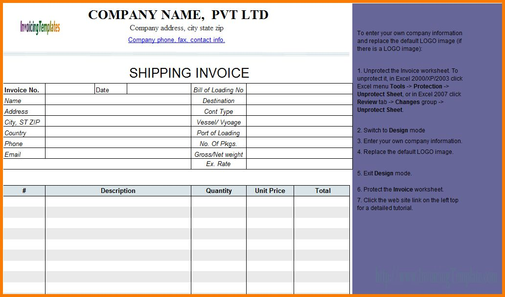 7+ Shipping Invoice | Receipt Templates