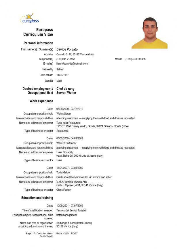 Example Of Waitress Resume Free Server Resume Example Server