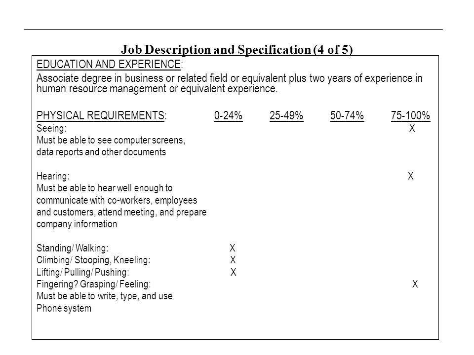 Job Analysis. I. Nature of Job Analysis Work activities and ...
