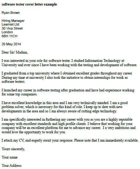 Software Tester Cover Letter Example - Learnist.org
