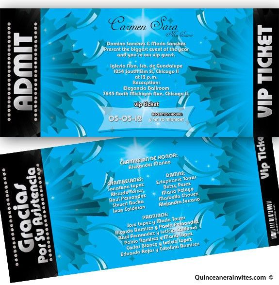 Silver Vip Ticket Quinceanera Invitations