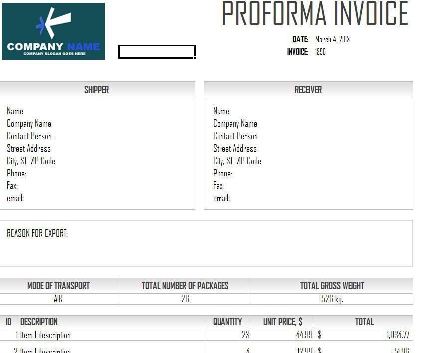 Download Proforma Invoice Sample Doc | rabitah.net