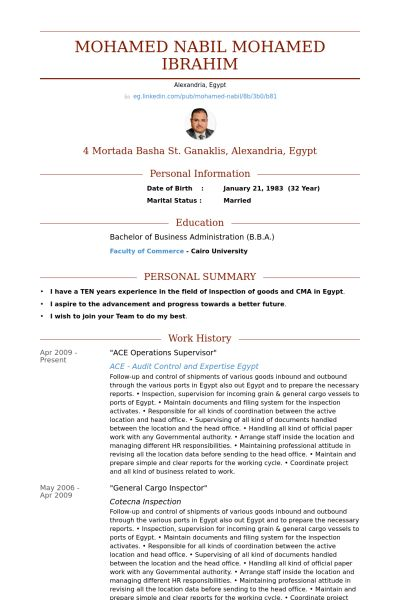 Operations Supervisor Resume samples - VisualCV resume samples ...