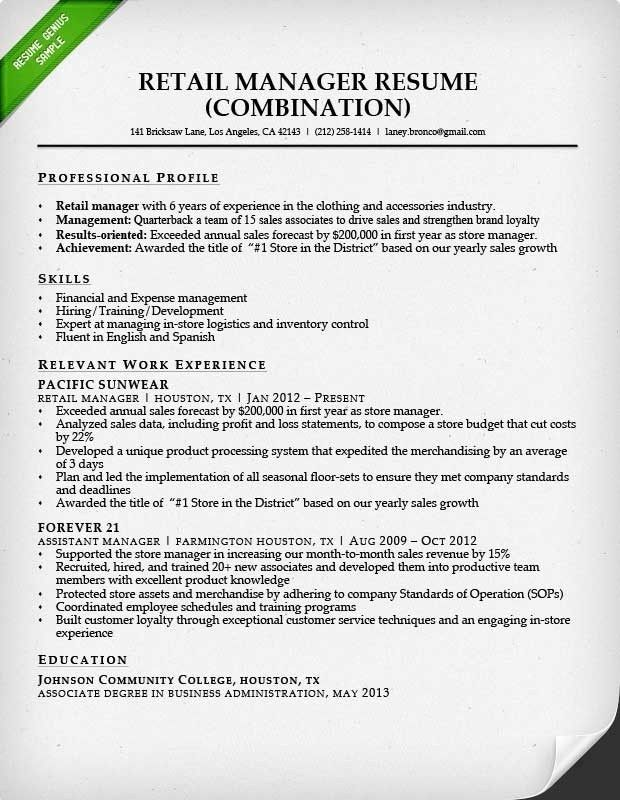 Retail Resume Template – Resume Examples