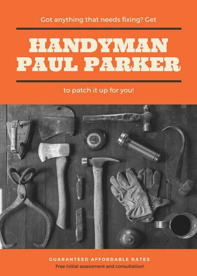 Orange Photo Handyman Flyer - Templates by Canva