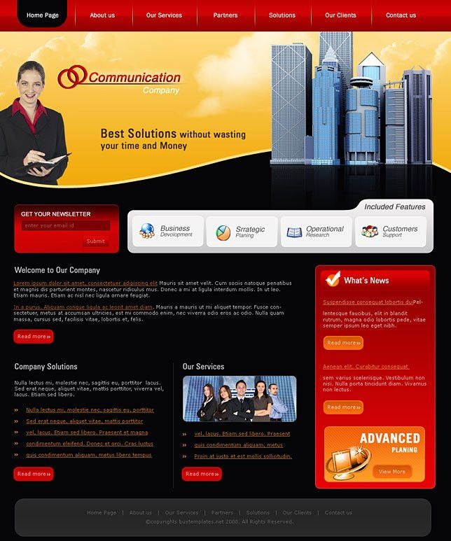 Frontpage web design templates for communication company