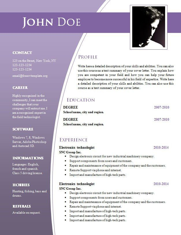 CV templates for word .DOC (#632 – 638) – Free CV Template dot Org