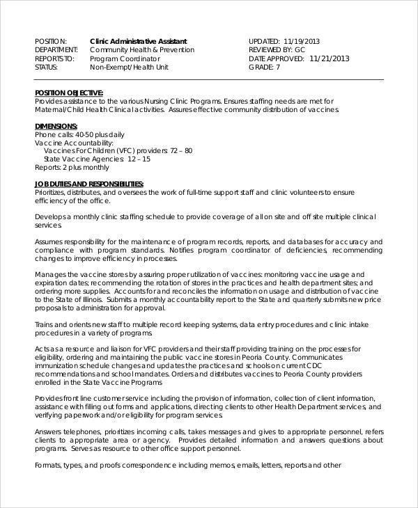Administrative Assistant Job Description Physical Requirements ...