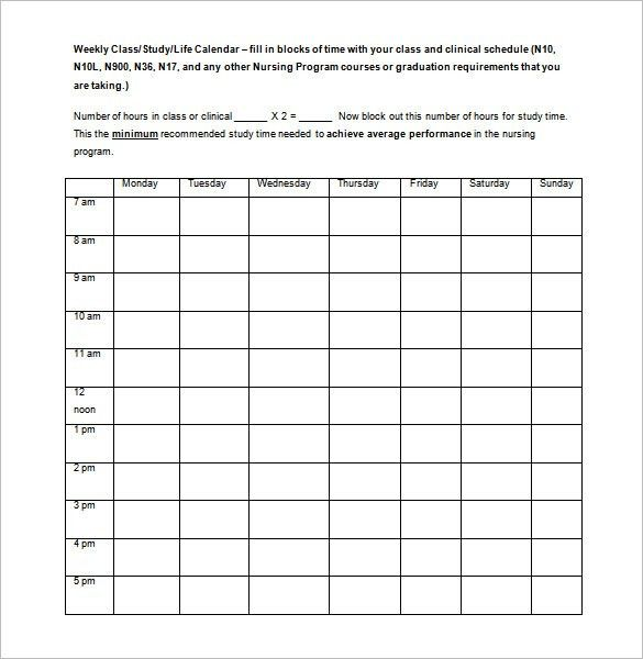 Class Schedule Template - 26+ Free Word, Excel Documents Download ...