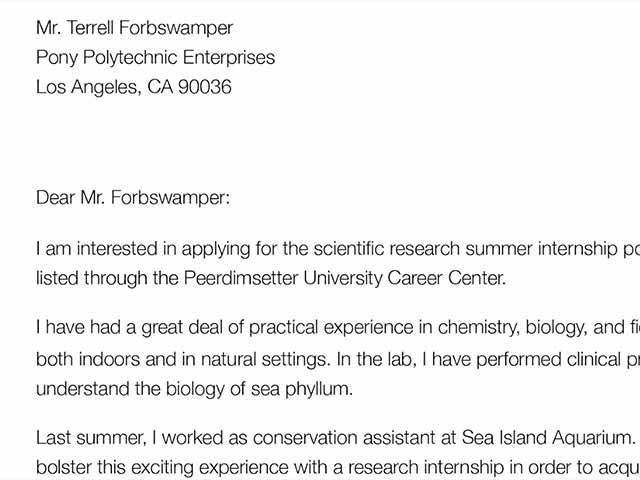 Cover letter example 1 inside How To Write An Internship Cover ...