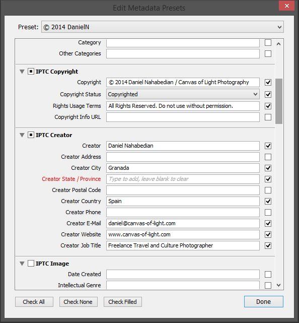 How to create a metadata preset in Lightroom