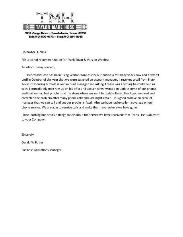Taylor Made-Referral Letter Frank Tovar San Antonio Verizon Business …