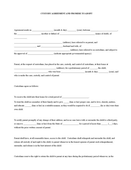 Custody Agreement | LegalForms.org