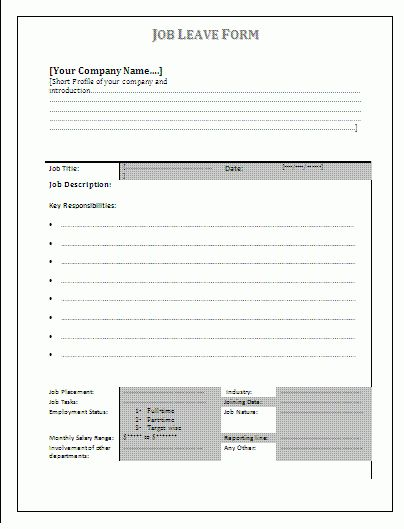 Job Leave Form | A to Z Free Printable Sample Forms