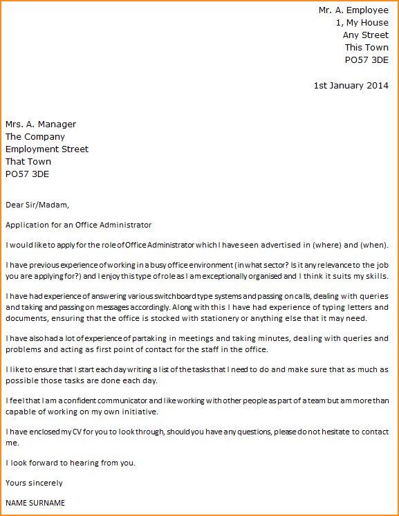 14+ cover letter sample for office administrator - Basic Job ...