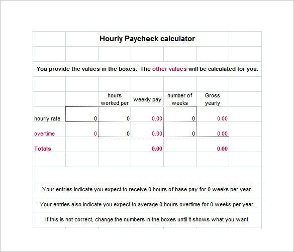 9+ Salary Paycheck Calculator – Free Word, Excel, PDF Format ...