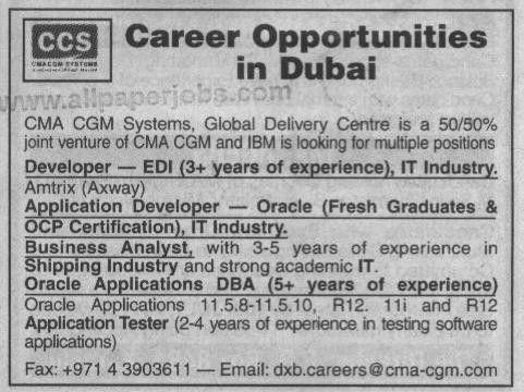 Dubai CMA GSM Systems Jobs, Developer, Application