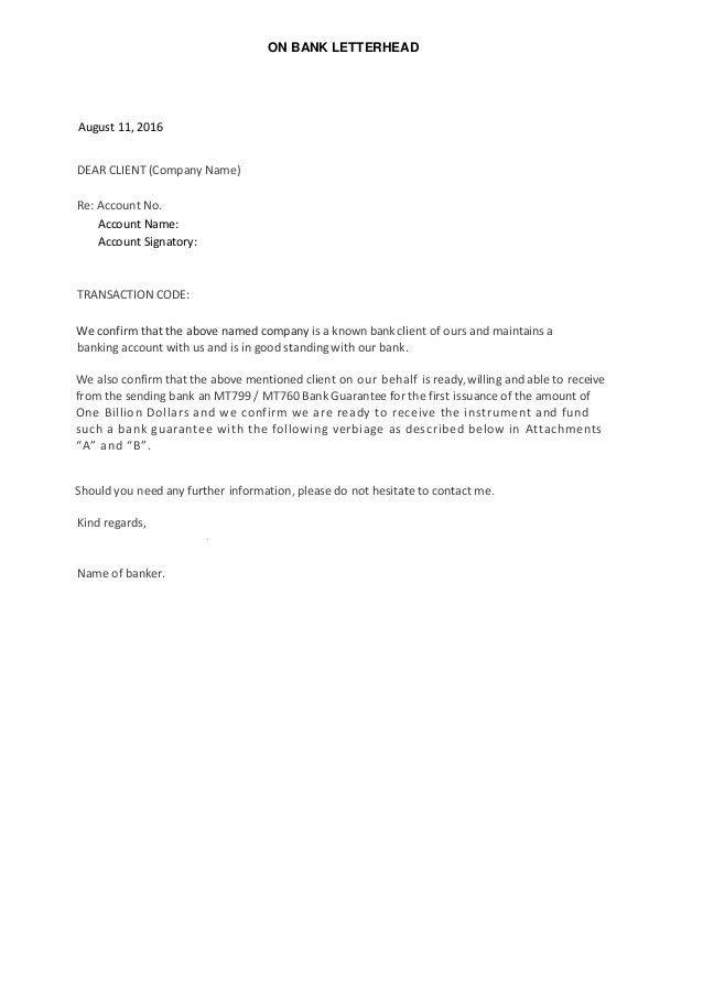 Sample Bank Letter MT799 760