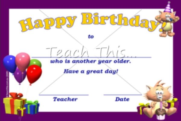 Happy Birthday Certificate - another year older - Printable ...