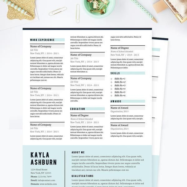 Stylish Blue Resume, Cover Letter & References Template Package ...