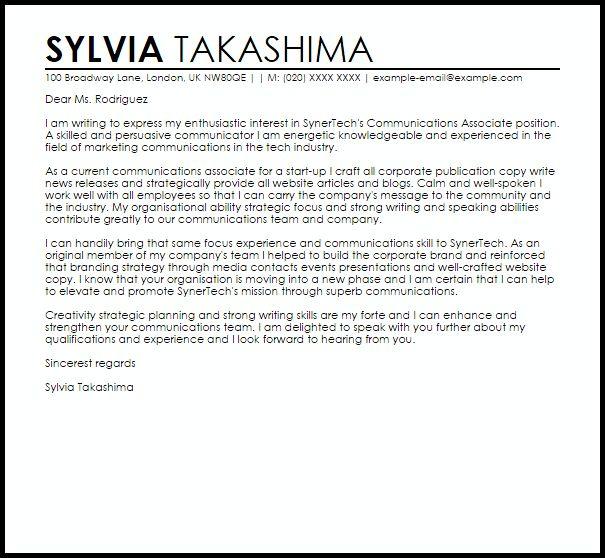 Communications Associate Cover Letter Sample | LiveCareer