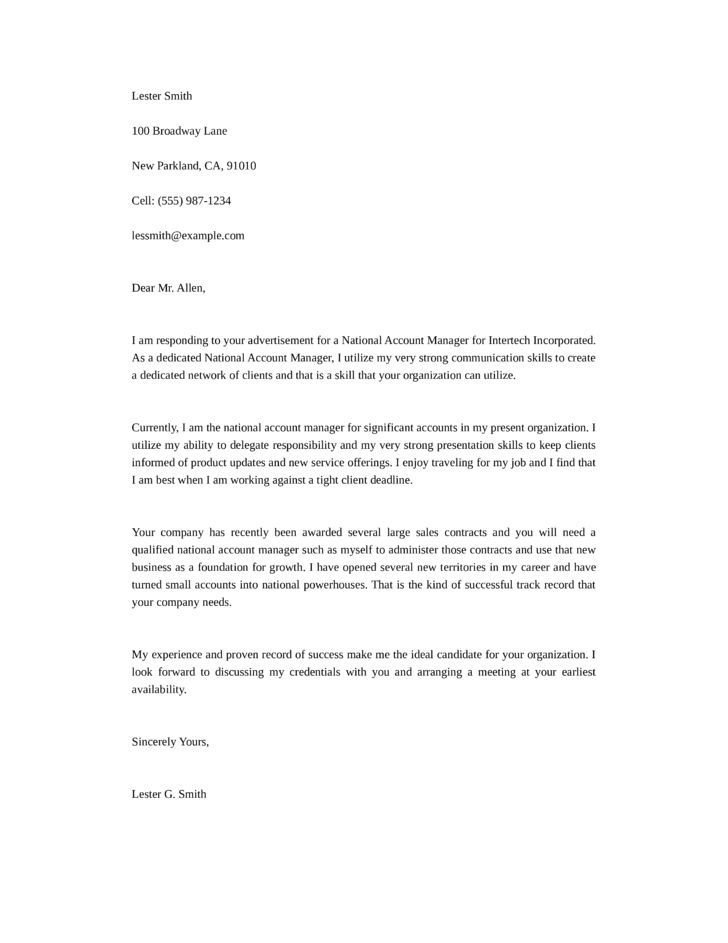 Basic National Account Manager Cover Letter Samples and Templates