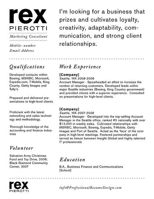 Professional Resume Design - Rex | Career, Resume ideas and Job search