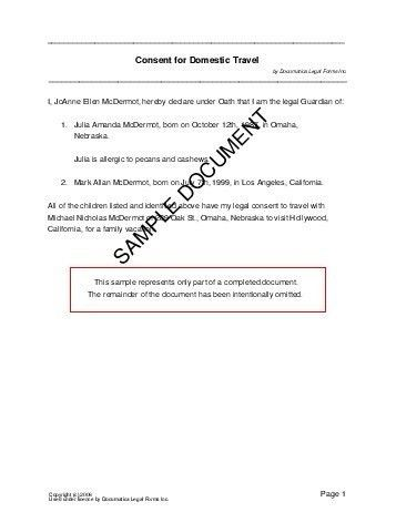 Awesome One Parent Travel Consent Form Images - Best Resume ...