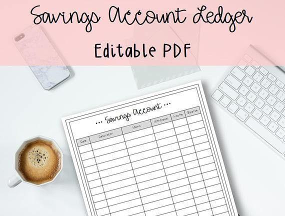 Savings Account Ledger Printable and Editable PDF Budget