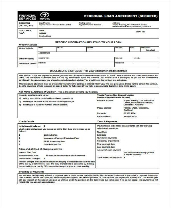 Loan Agreement Form Template