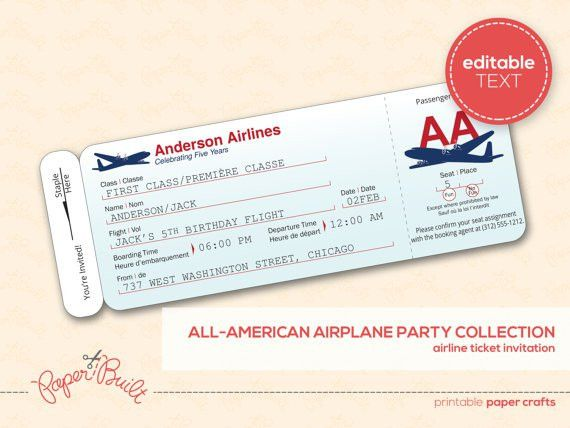 Airline Ticket Invitation (Customized) from the All-American ...