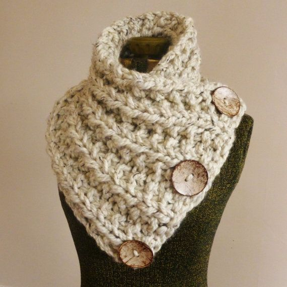 Knitting On The Net Buttonhole : The lancaster scarf chunky hand knit in oatmeal wit