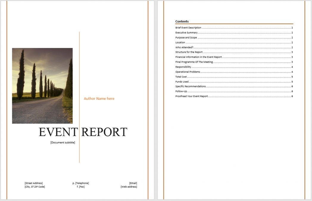 Event Report Template Microsoft Word Templates ~ Ptasso