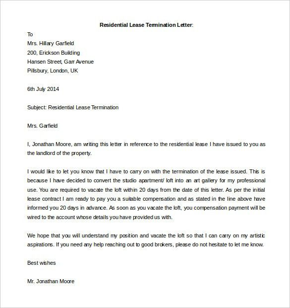 Free Termination Letter Template - 11+ Free Word Documents ...