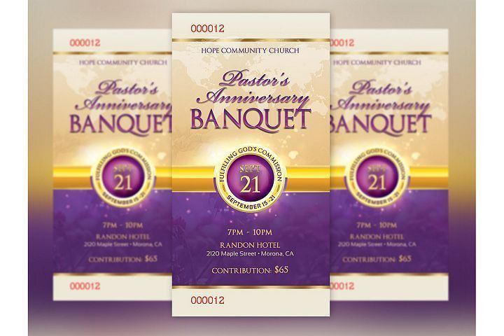 Clergy Anniversary Banquet Ticket Template | Design and Printing ...