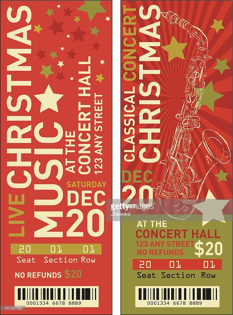 Set Of Christmas Concert Tickets Templates Vector Art | Getty Images