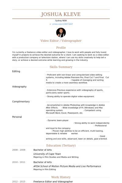 Videographer Resume samples - VisualCV resume samples database