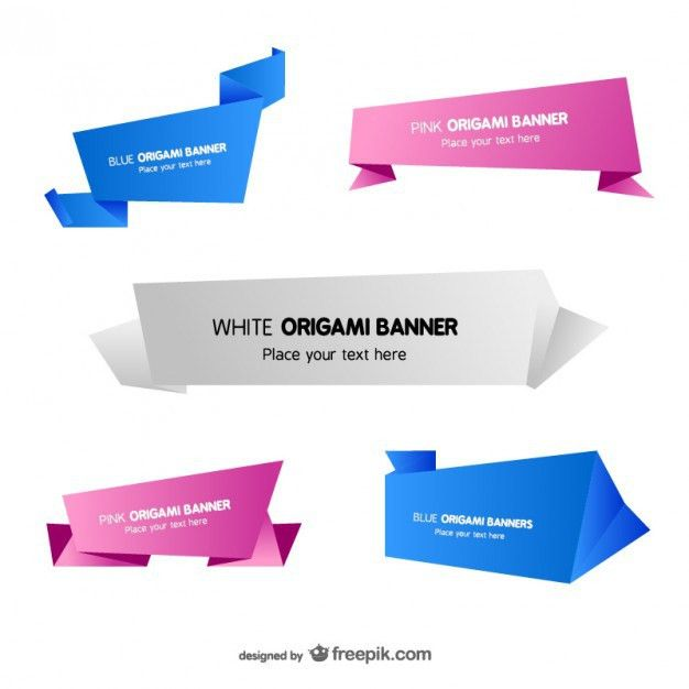 Origami banner templates set Vector | Free Download