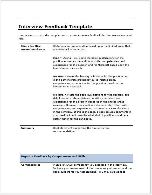 Candidate Interview Feedback Report Template – Clickstarters