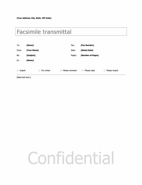 Basic Fax Cover - Office Templates