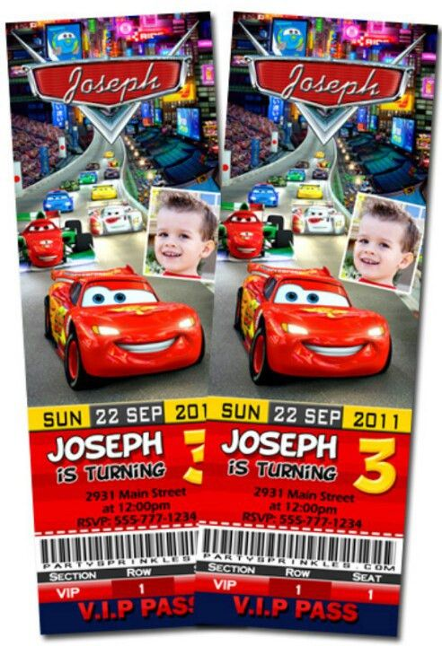Disney Cars birthday invitation race ticket cards | Party ideas ...