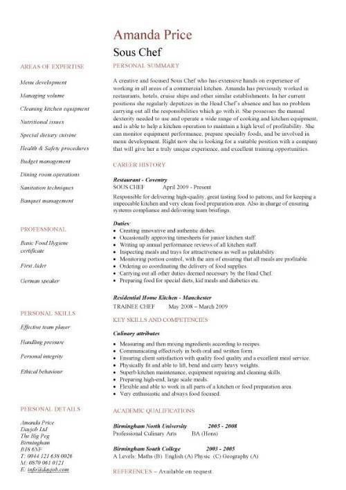 Sous chef CV sample