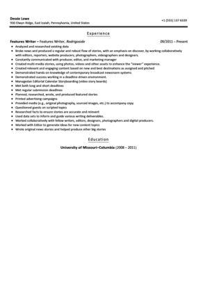 Features Writer Resume Sample | Velvet Jobs