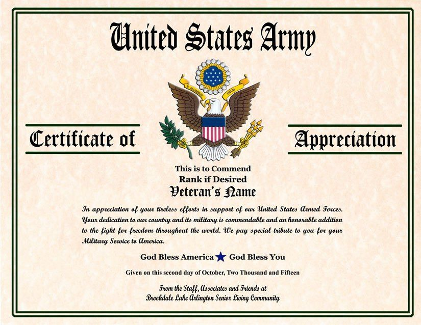 Military Veterans Appreciation Certificates | Veterans day ...
