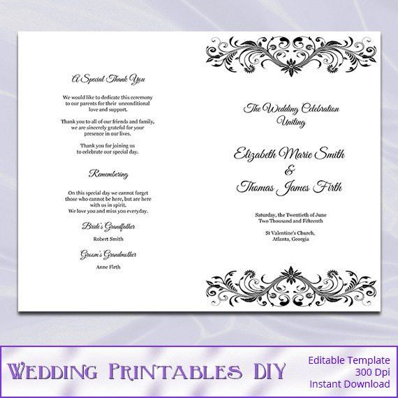 Wedding Program Booklet Template Black and White Diy