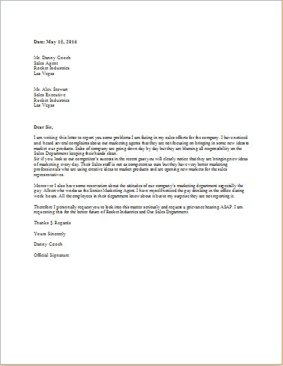 Grievance Letter Template for WORD .doc | Word & Excel Templates