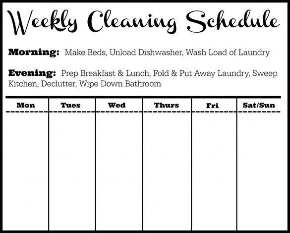 Cleaning Schedule Template – 10+ Free Sample, Example Format ...