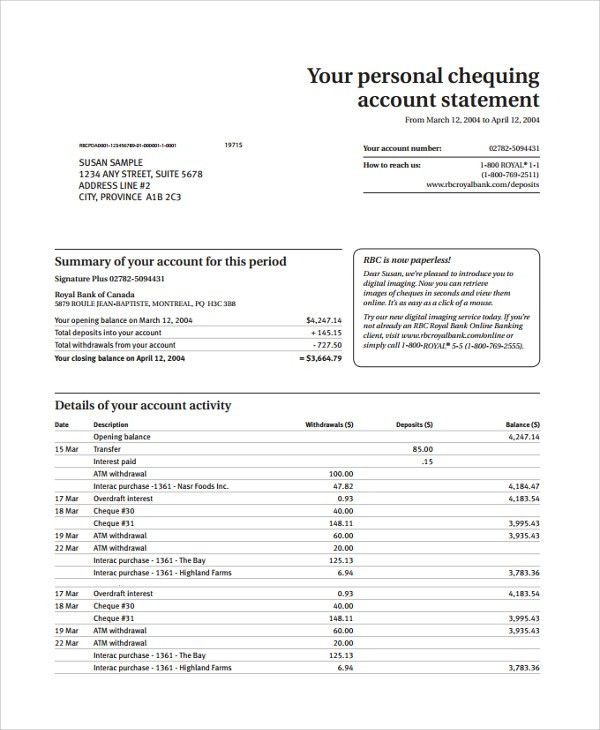 Sample Bank Statement. Bank Statement Template 9 Free Bank ...